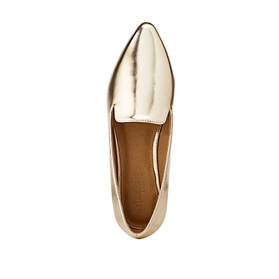 Metallic Faux Leather Pointed Toe Flats at Charlotte Russe in Cypress, TX   Tuggl