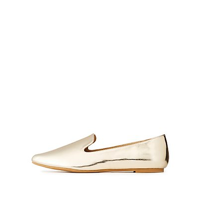 Metallic Faux Leather Pointed Toe Flats