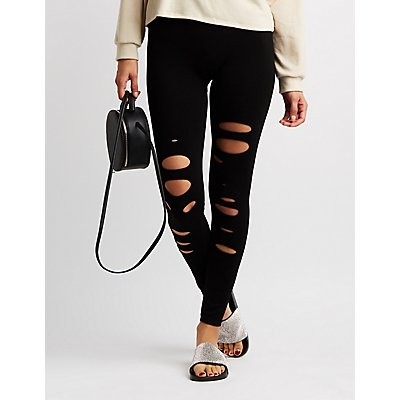 Slashed Stretchy Leggings