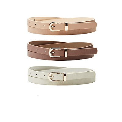 Stamped Faux Leather Belts - 3 Pack