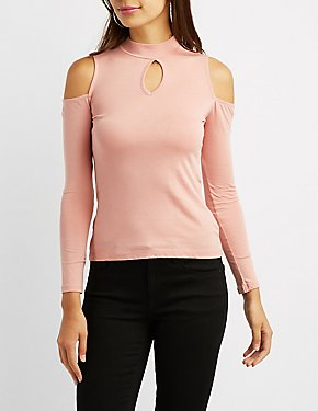 Mock Neck Cold Shoulder Top