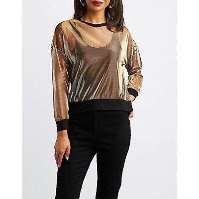 Metallic Mesh Pullover Sweatshirt