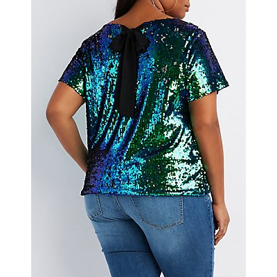 Plus Size Sequin Keyhole Top