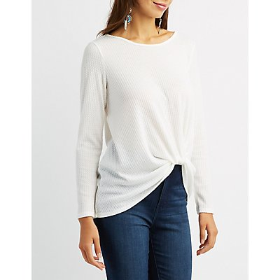 Waffle Knit Twist-Front Top