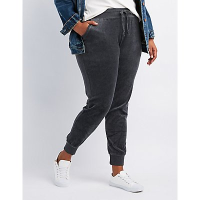 Plus Size Velour Jogger Pants