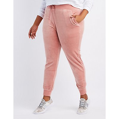 Plus Size Velour Jogger Pants