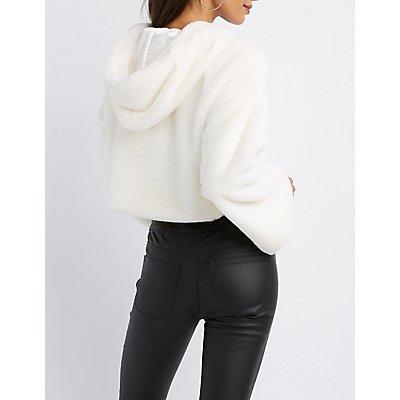 Faux Fur Cropped Hoodie
