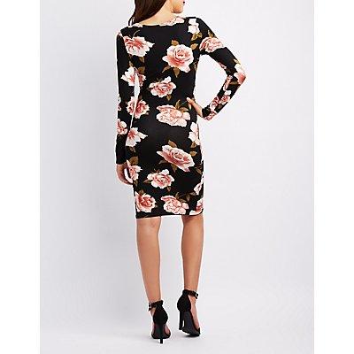 Floral Surplice Wrap Bodycon Dress