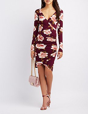 Floral Surplice Wrap Bodycon Dress