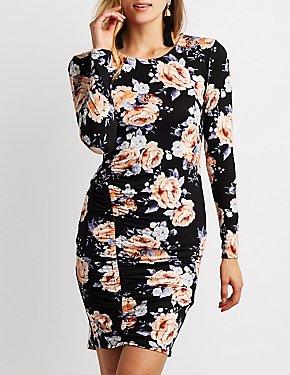Floral Scoop Neck Ruched Dress