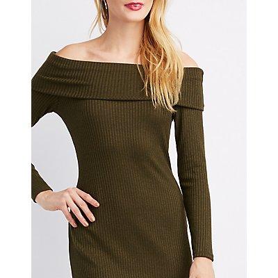 Ribbed Off-The-Shoulder Dress