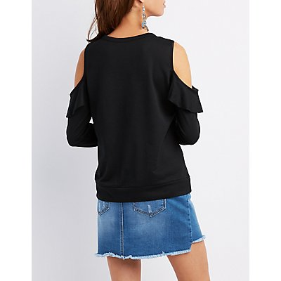 Ruffle-Trim Cold Shoulder Pullover Sweatshirt
