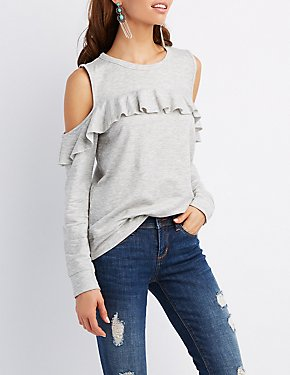 Ruffle-Trim Cold Shoulder Pullover Sweatshirt