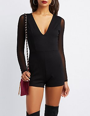 Sheer Long Sleeve Romper