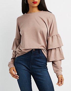 Tiered Ruffle Sleeve Sweatshirt