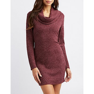 Ribbed Knit Cowl Neck Sweater Dress