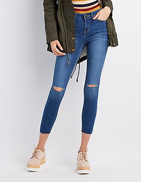 Destroyed High-Rise Skinny Jeans