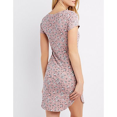 Floral Knit Bodycon Dress