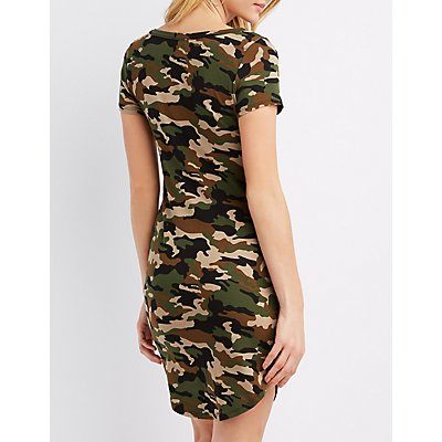 Camo Knit Bodycon Dress