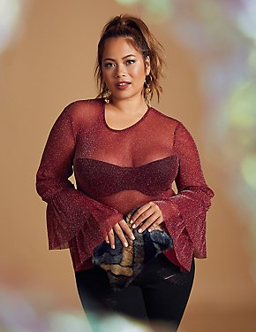 Plus Size Sheer Bell Sleeve Keyhole Top