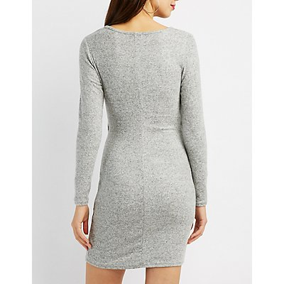 Knotted Open-Front Bodycon Dress