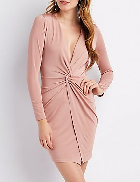 Knot V-Neck Bodycon Dress