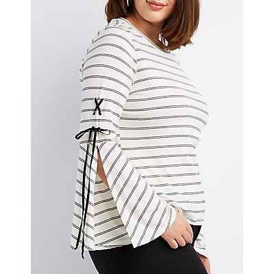Plus Size Striped Lace-Up Bell Sleeve Top