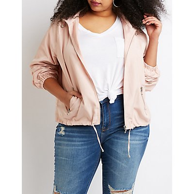 Plus Size Hooded Bomber Jacket