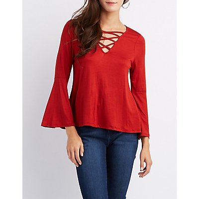Caged Bell Sleeve Top