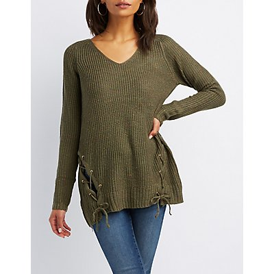 Lace-Up Detail Pullover Sweater
