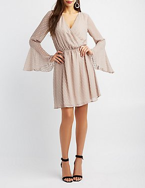 Bell Sleeve Surplice Skater Dress