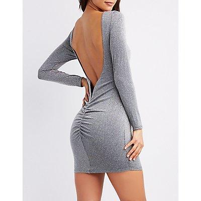 Metallic Knit Open-Back Bodycon Dress