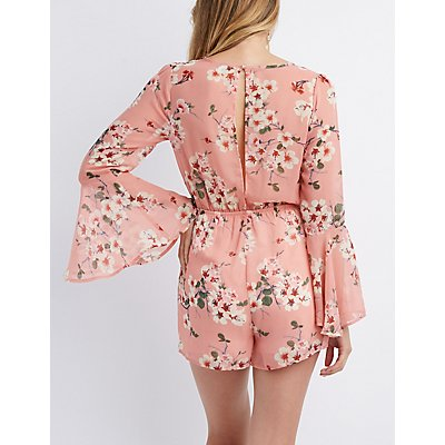 Floral Keyhole Bell Sleeve Romper