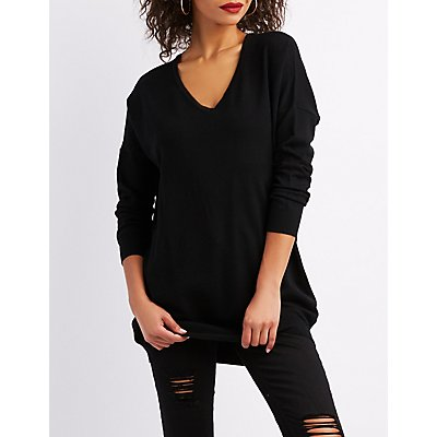 Oversize Caged-Back Pullover Sweater