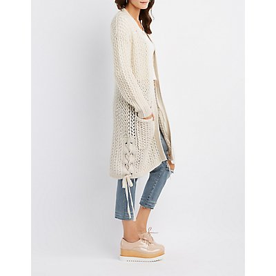 Lace-Up Detail Open-Front Duster Cardgian