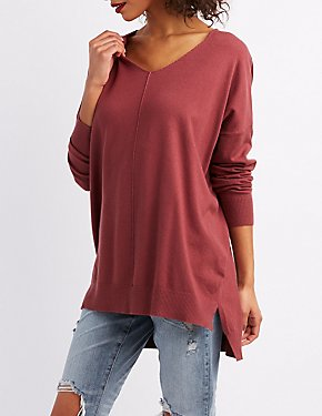 V-Neck Dolman Pullover Sweater