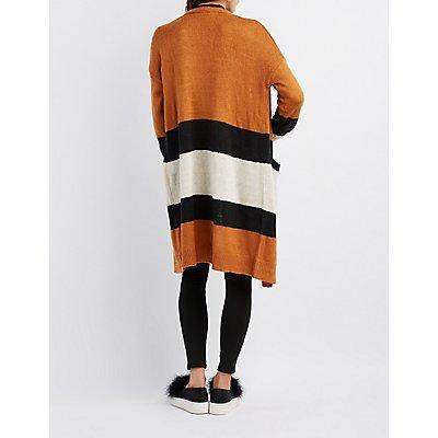 Open-Front Striped Boyfriend Cardigan