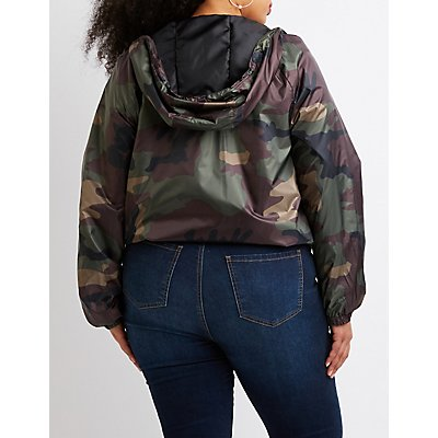 Plus Size Camo Hooded Bomber Jacket