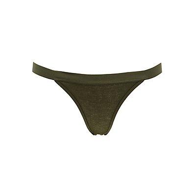 Ribbed Knit Hipster Panties