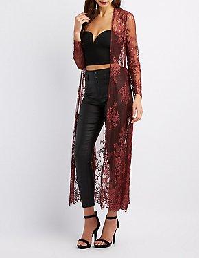 Tie-Front Lace Lognline Kimono