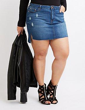 Plus Size Step Hem Denim Mini Skirt