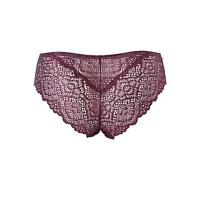 Plus Size Scalloped Lace-Back Cheeky Panties