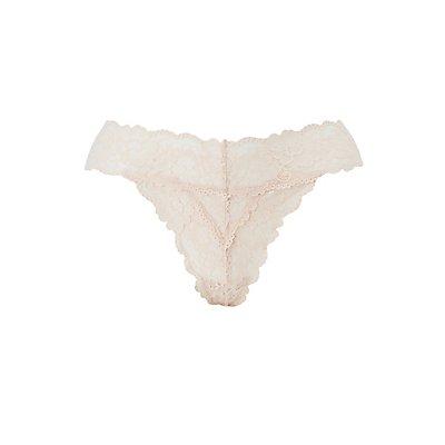 Plus Size Scalloped Lace Thong Panties