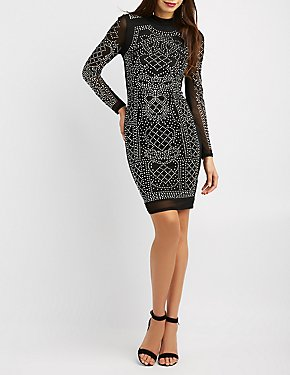 Studded Mesh Bodycon Dress