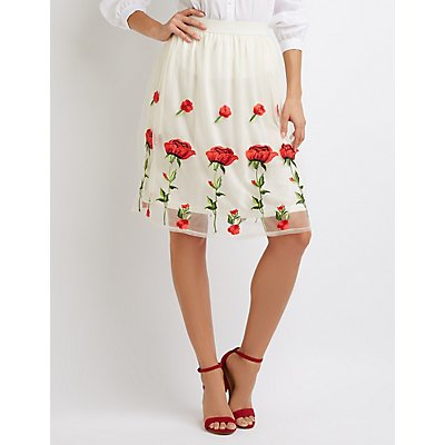 Floral Embroidered Tulle Full Midi Skirt