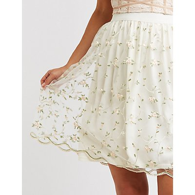 Floral Embroidered Tulle Full Midi Skirt