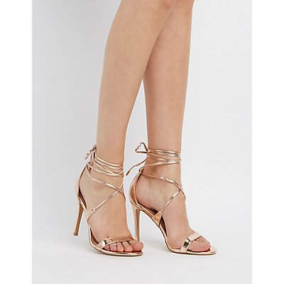 Strappy Metallic Ankle Wrap Sandals