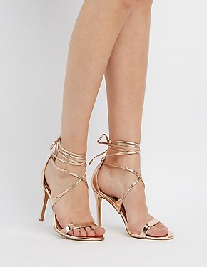 Strappy Metallic Ankle Wrap Sandals