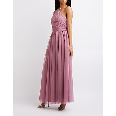 Ruched One Shoulder Maxi Dress Charlotte Russe