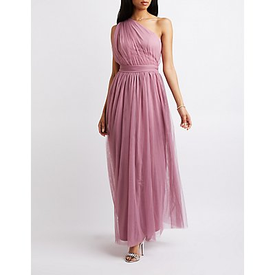 Ruched One-Shoulder Maxi Dress